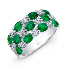 NATURAL COLOR WHITE GOLD FASHION EMERALD CHECKERS DIAMOND RING