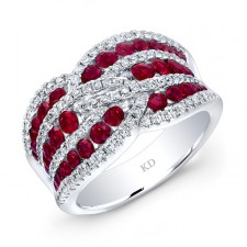 WHITE GOLD NATURAL COLOR TWISTED RUBY DIAMOND RING