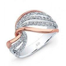 WHITE AND ROSE GOLD FASHION SWIRLED DIAMOND RING