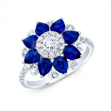 NATURAL COLOR WHITE GOLD SAPPHIRE FLOWER DIAMOND RING