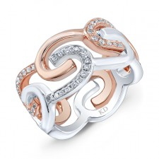 WHITE AND ROSE GOLD FASHION SWIRL DIAMOND RING