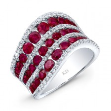 WHITE GOLD NATURAL COLOR RUBY FASHiON DIAMOND WAVE RING