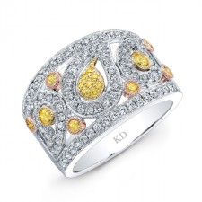 WHITE & YELLOW & ROSE GOLD DAZZLING FANCY YELLOW DIAMOND BAND