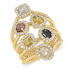 YELLOW GOLD SIX - STONE DAZZLING ROUGH DIAMOND RING