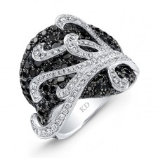 WHITE GOLD INSPIRED FASHION BLACK AND WHITE DIAMOND RING