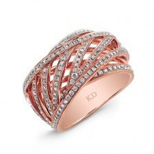 ROSE GOLD CONTEMPORARY CRISS CROSS DIAMOND RING