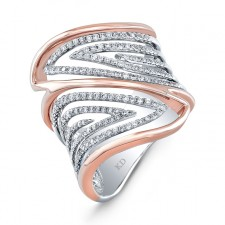 WHITE AND ROSE GOLD TRENDY WAVE DIAMOND RING