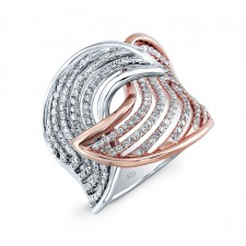 WHITE AND ROSE GOLD DAZZLING SWIRLED DIAMOND RING