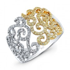 WHITE AND YELLOW GOLD DAZZLING SWIRLED DIAMOND RING