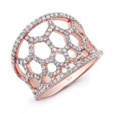 ROSE GOLD STYLISH HONEYCOMB DIAMOND RING