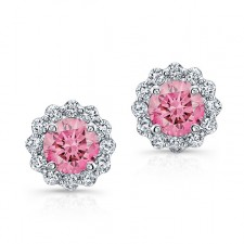 WHITE GOLD PINK ENHANCED ROUND DIAMOND HALO EARRINGS