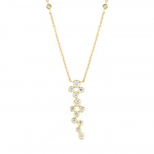 YELLOW GOLD CONTEMPORARY DIAMOND CLUSTER PENDANT