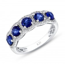 NATURAL COLOR WHITE GOLD CONTEMPORARY SAPPHIRE DIAMOND RING