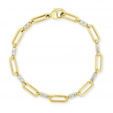 YELLOW GOLD INSPIRED FASHION LINKS DIAMOND BRACELET