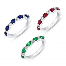 NATURAL COLOR WHITE GOLD STACKABLE SAPPHIRE DIAMOND RING