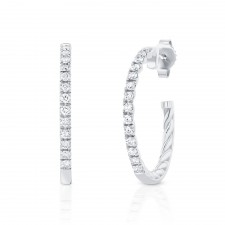 WHITE GOLD FASHION HOOP DIAMOND EARRINGS