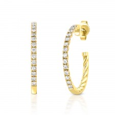YELLOW GOLD FASHION HOOP DIAMOND EARRINGS