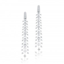 WHITE GOLD STYLISH DIAMOND DANGLE EARRINGS