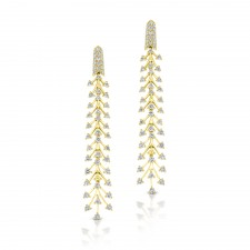 YELLOW GOLD STYLISH DIAMOND DANGLE EARRINGS