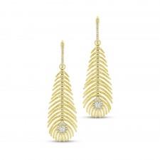 YELLOW GOLD FASHION DIAMOND DANGLE EARRINGS