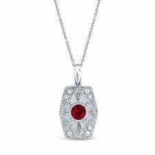 NATURAL COLOR WHITE GOLD INSPIRED VINTAGE RUBY PENDANT