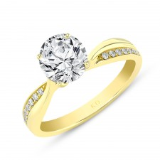 YELLOW GOLD TWISTED DIAMOND ENGAGEMENT RING