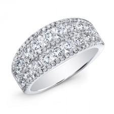 WHITE GOLD FASHION MULTI ROW DIAMOND BAND