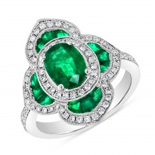 WHITE GOLD NATURAL COLOR DAZZLING EMERALD  DIAMOND RING