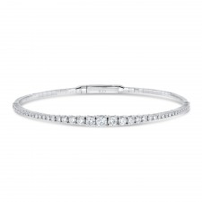 WHITE GOLD FLEXIBLE GRADUATE DIAMOND BANGLE