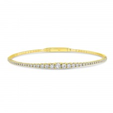 YELLOW GOLD FLEXIBLE GRADUATE DIAMOND BANGLE