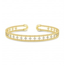 YELLOW GOLD CONTEMPORARY FLEXIBLE DIAMOND BANGLE