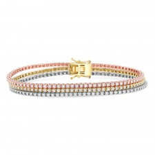 WHITE & YELLOW & ROSE GOLD INSPIRED FASHION THREE TONE DIAMOND BRACELET