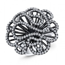 WHITE GOLD INSPIRED SWIRLED FLOWER  DIAMOND RING
