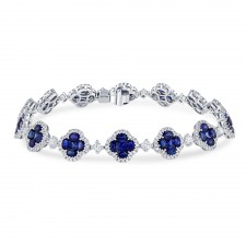 WHITE GOLD NATURAL COLOR CONTEMPORARY SAPPHIRE DIAMOND BRACELET