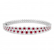 WHITE GOLD NATURAL COLOR DAZZLING  RUBY DIAMOND BRACELET