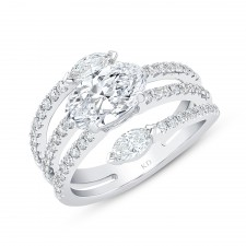 WHITE GOLD FASHION SEMI-MOUNT DIAMOND RING