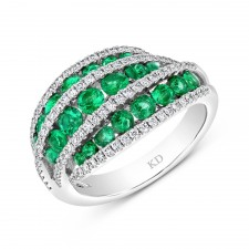 NATURAL COLOR WHITE GOLD FASHION EMERALD DIAMOND RING