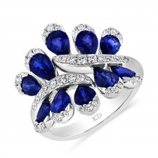 WHITE GOLD NATURAL COLOR SAPPHIRE CONTEMPORARY  DIAMOND RING