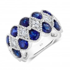 WHITE GOLD NATURAL COLOR DAZZLING SAPPHIRE FASHION DIAMOND RING
