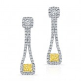 WHITE AND YELLOW GOLD ELEGANT FANCY YELLOW RADIANT DIAMOND EARRINGS