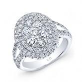WHITE GOLD SPLIT SHANK INSPIRED FASHION DIAMOND RING