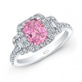 WHITE GOLD ELEGANT PINK ENHANCED CUSHION DIAMOND ENGAGEMENT RING