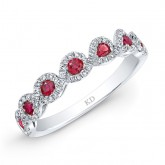 NATURAL COLOR WHITE GOLD INSPIRED TWISTED RUBY DIAMOND BAND