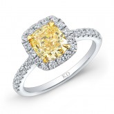 WHITE AND YELLOW GOLD CLASSIC FANCY YELLOW CUSHION DIAMOND BRIDAL RING