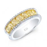 WHITE AND YELLOW GOLD FANCY YELLOW FASHION DIAMOND BAND