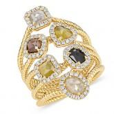 YELLOW GOLD SIX - STONE DAZZLING ROUGH DIAMOND RING