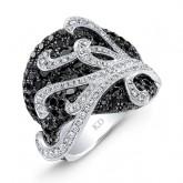WHITE GOLD INSPIRED FASHION BLACK AND WHITE DIAMOND RING
