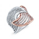 WHITE AND ROSE GOLD DAZZLING SWIRLED DIAMOND RING