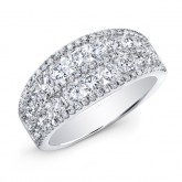 WHITE GOLD FASHION MULTI ROW DIAMOND BAND