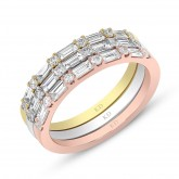 WHITE & ROSE & YELLOW GOLD  INSPIRED FASHION STACKABLE DIAMOND BAND